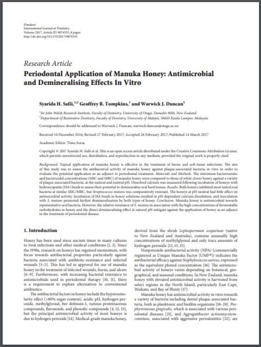 งานวิจัยมานูก้ากับการฆ่าเชื้อแบคทีเรีย